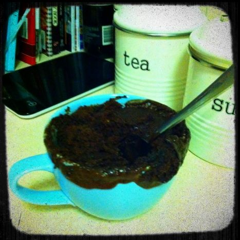 God bless the cook who invented chocolate mug cake...
