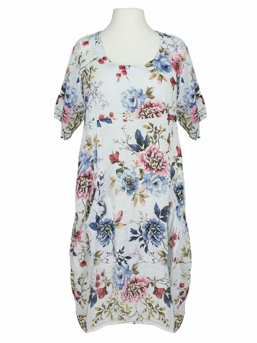 Damen Leinen Kleid Blumen, weiss von Puro Lino bei www ...