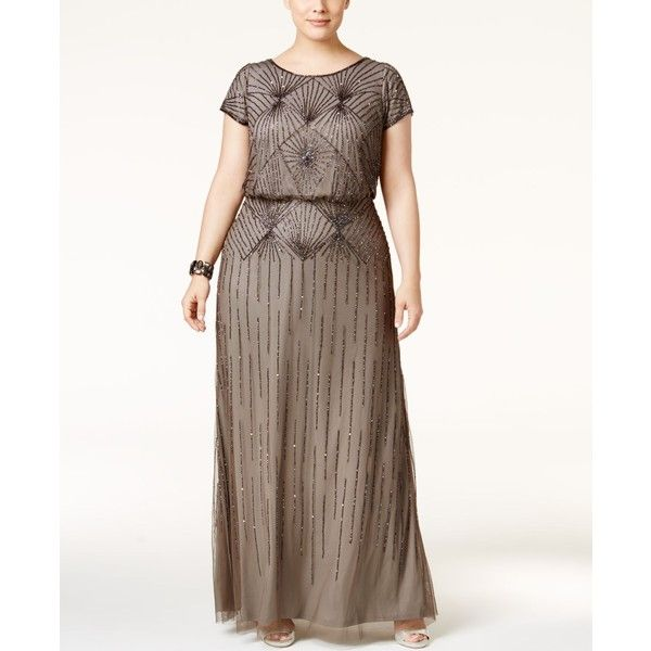 Adrianna Papell Plus Size Beaded Blouson Gown ($279) ❤ liked on ...
