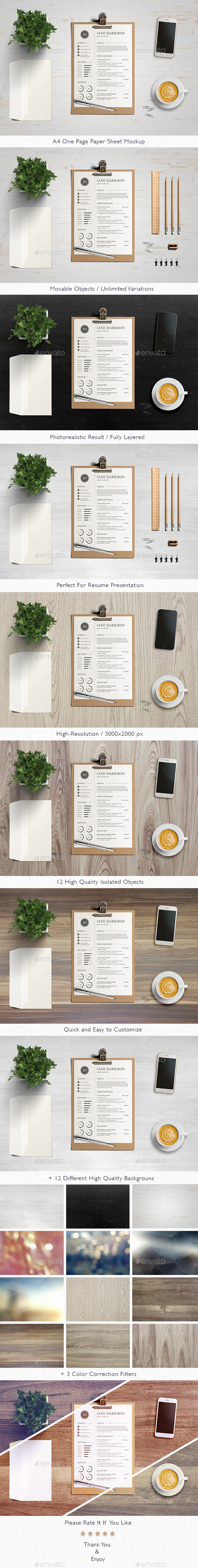 a4 one page paper sheet mockup — psd template • only available, Presentation templates