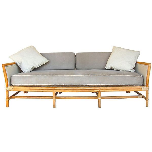 Pre-Owned Ficks Reed Bamboo Sofa (118,560 PHP) ❤ liked on Polyvore featuring home, furniture, sofas, second hand sofa, secondhand furniture, bamboo furniture and second hand furniture