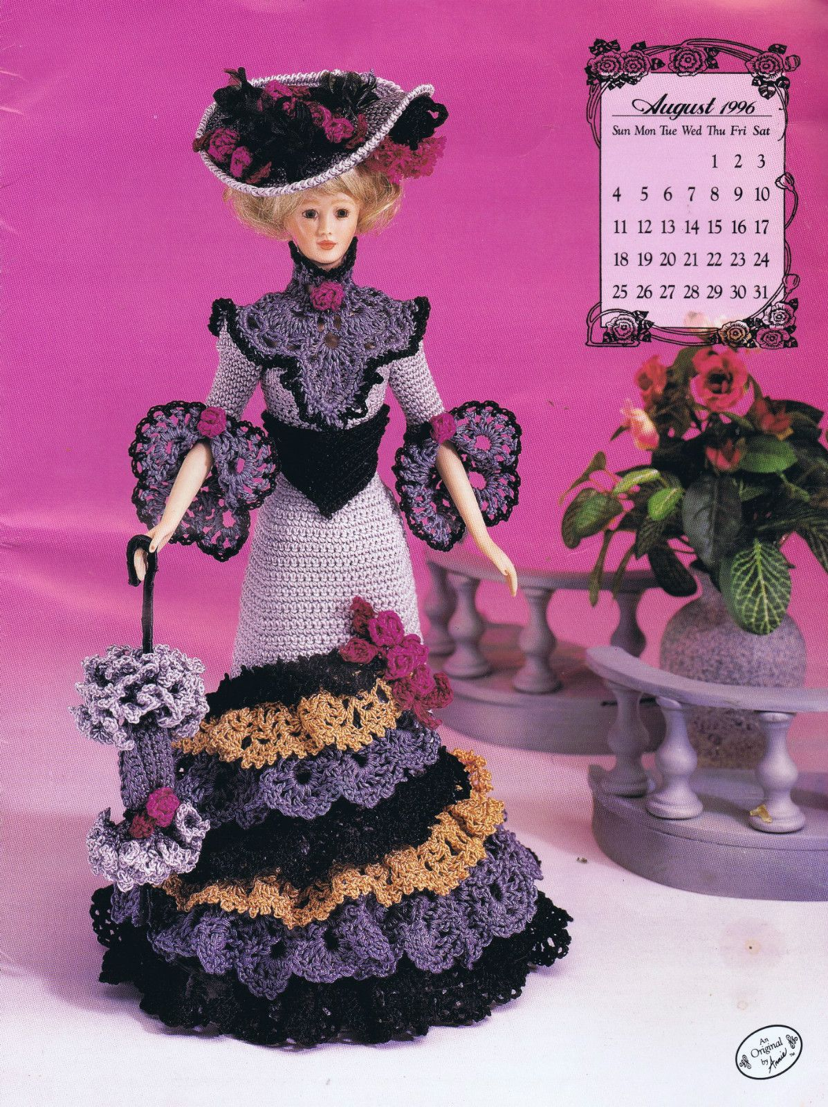 CROCHET PATTERN FASHION DOLL BARBIE SIZED MISS AUGUST AFTERNOON VISITING  COSTUME  4a92257359b