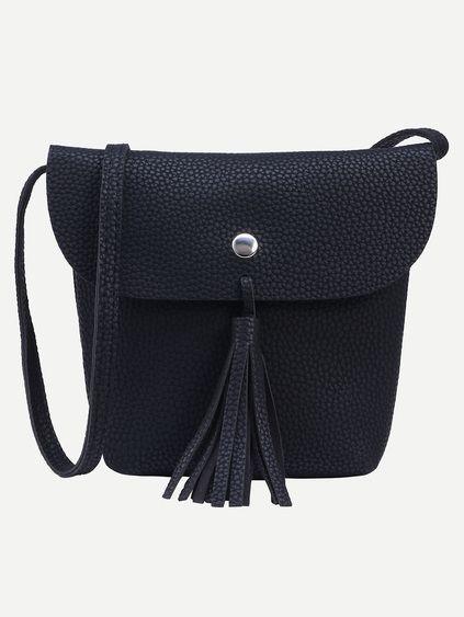 Black Tassel Trim Flap Bucket Bag Mobile Site