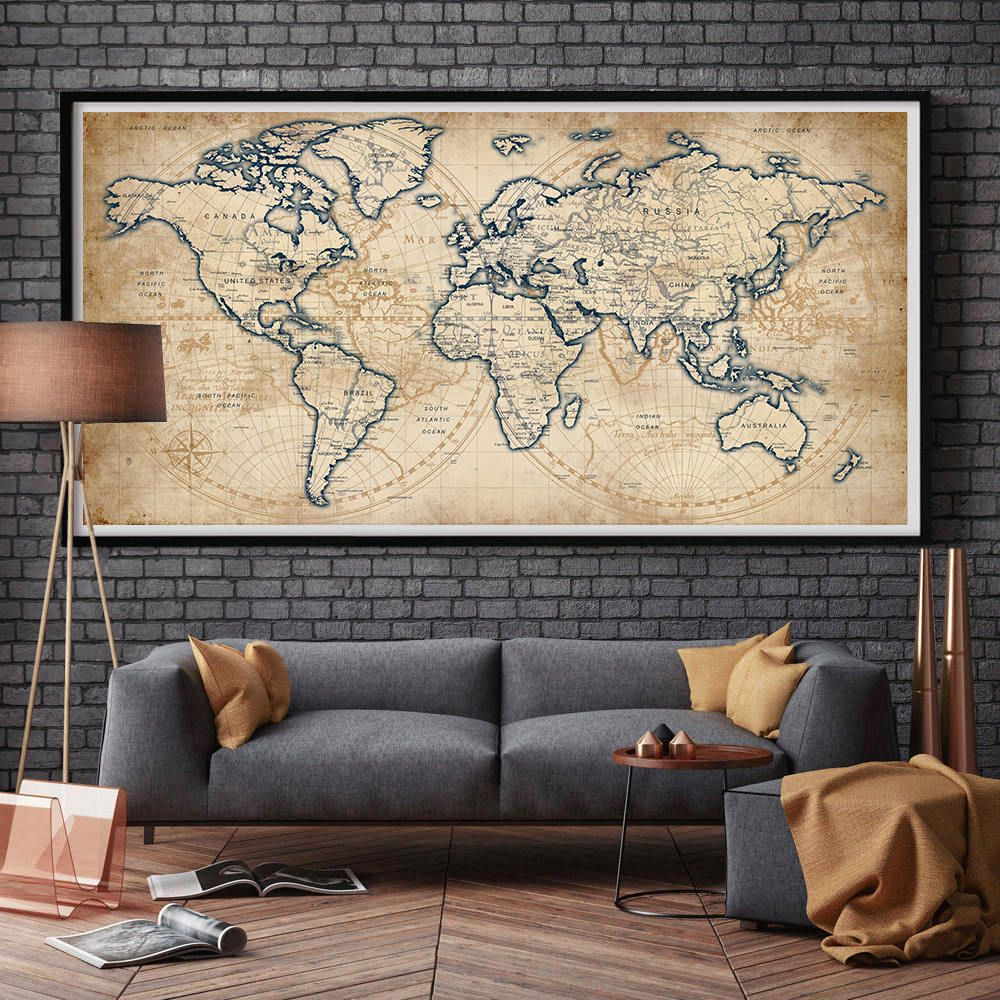World Map Rustic Style Poster Print Old Style Wall Map Etsy World Map Decor Map Decor World Map Wall Art