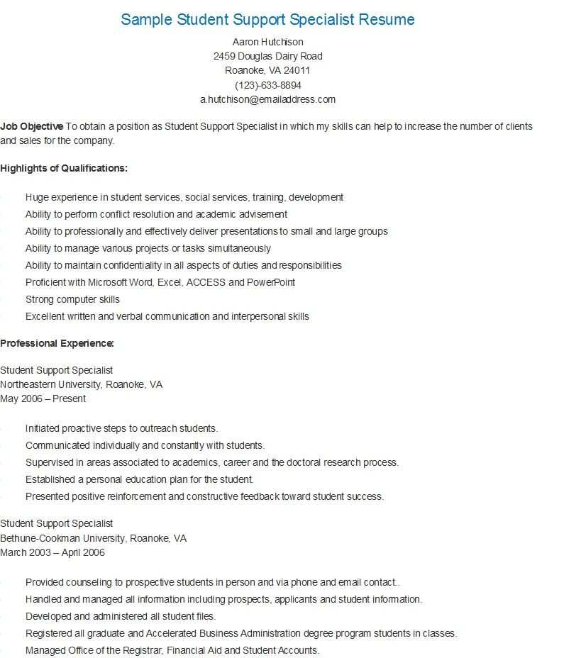 Sample Student Support Specialist Resume resame Pinterest