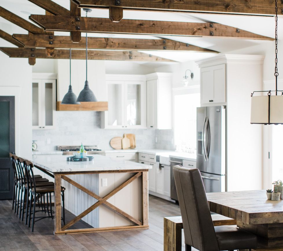 Urban Farmhouse kitchen by Rafterhouse. Barnwood accents, toned ...