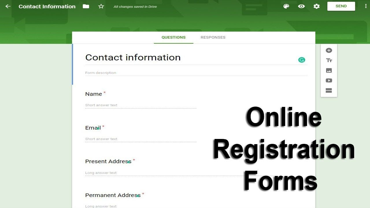 How To Create Online Registration Form Using Google Docs Forms Online Registration Form Online Registration Google Forms