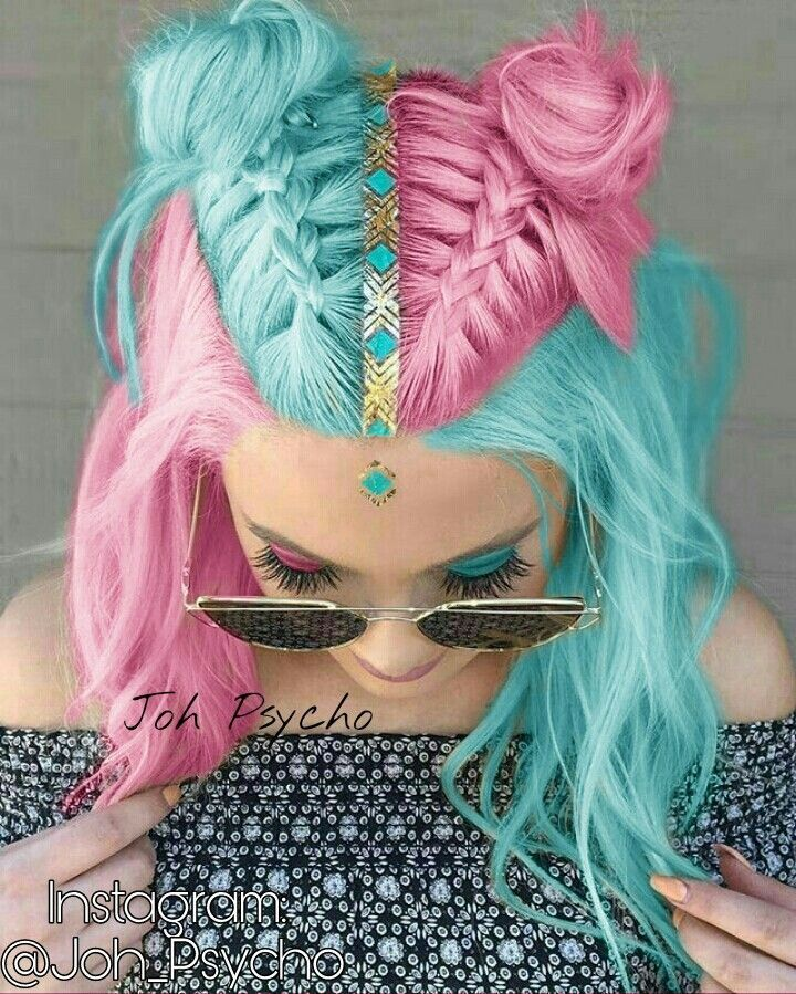 pink blue hair #girlhair