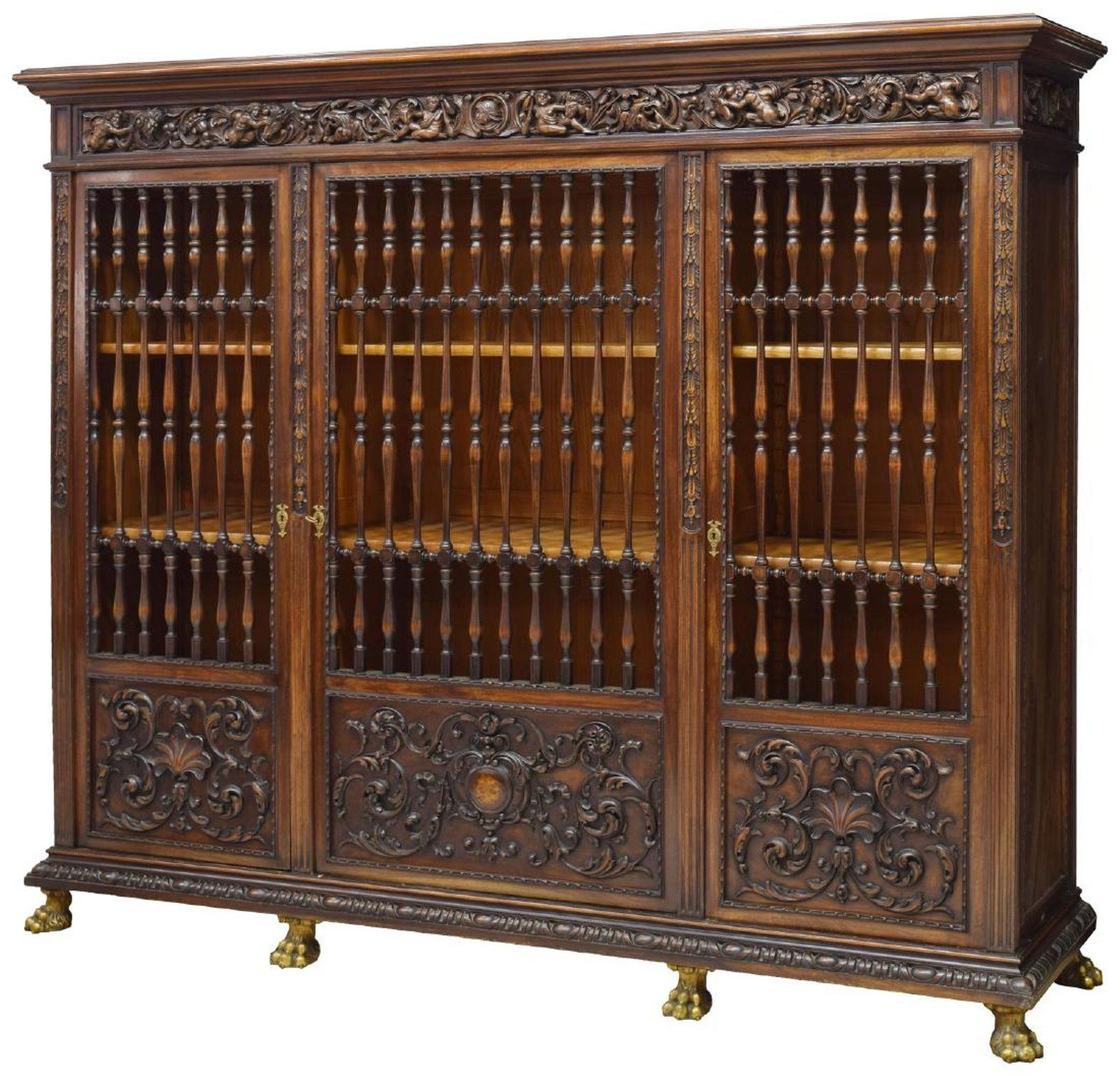 Spanish Gothic Revival Heavily Carved Oak Cabinet
