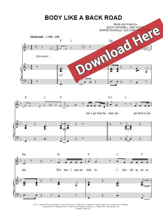 Sam Hunt Body Like A Back Road Sheet Music Piano Notes Chords