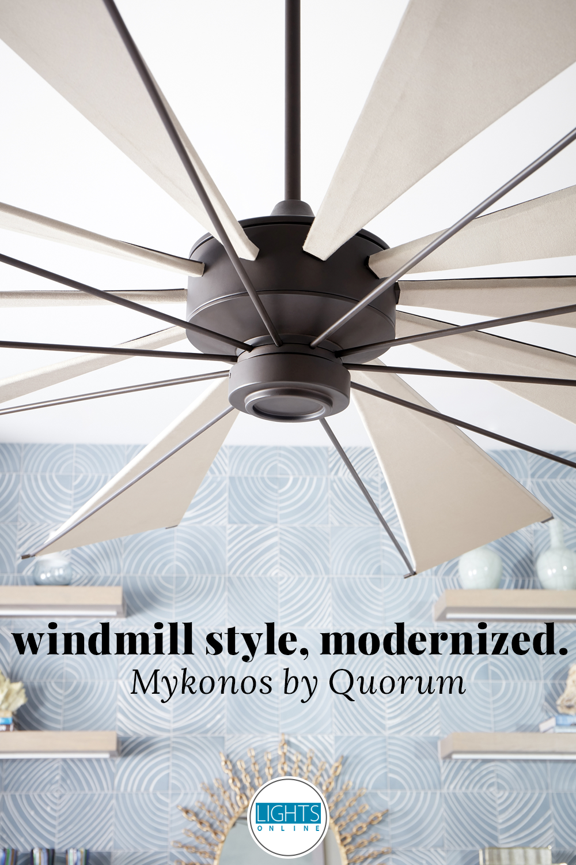 Quorum Mykonos 92 Indoor Outdoor Ceiling Fan In Oiled Bronze Ceiling Fan Outdoor Ceiling Fans Large Ceiling Fans