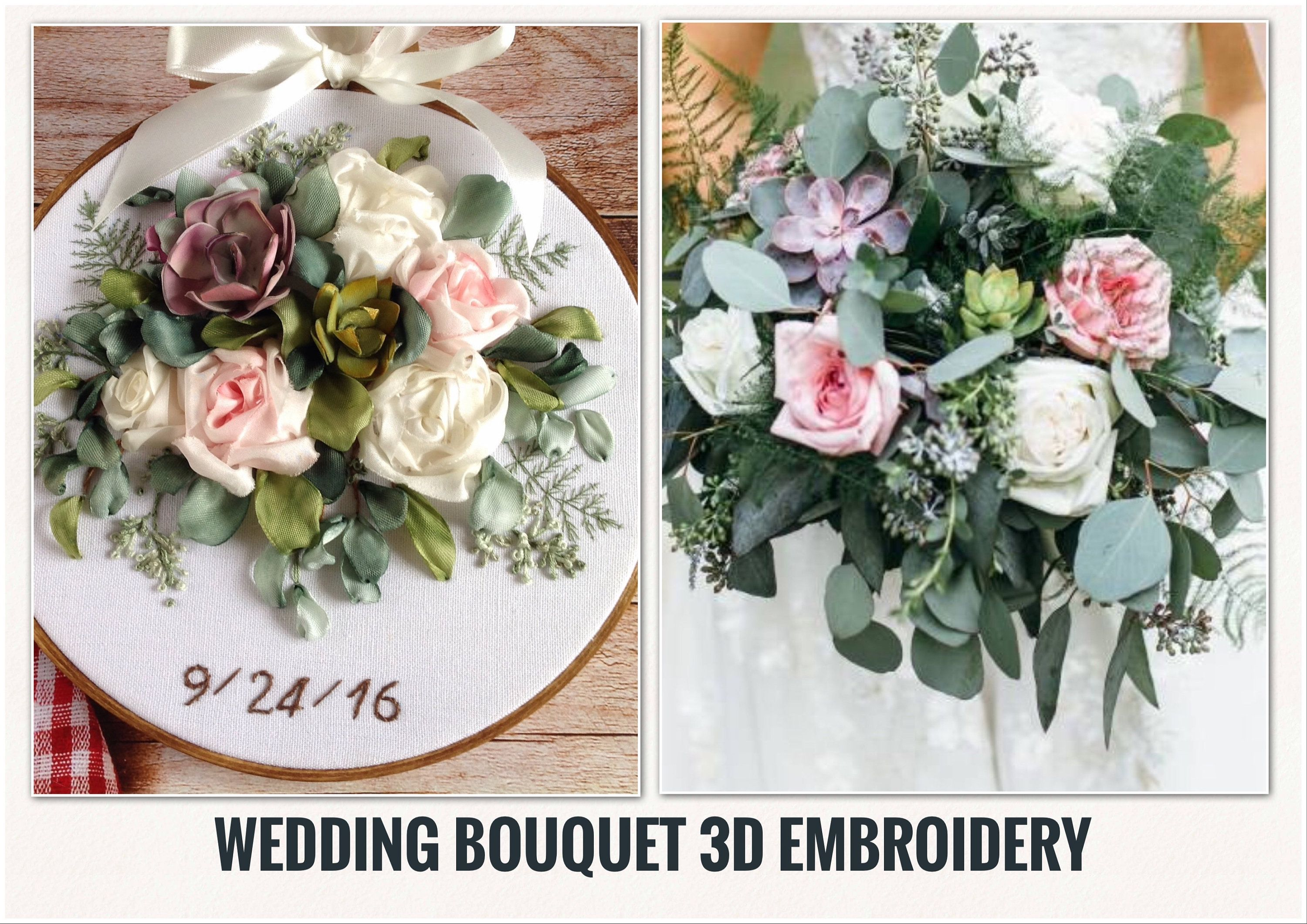 Wedding Bouquet 3d Embroidery2nd 4th Anniversary Giftcustom Etsy In 2020 4th Anniversary Gifts Silk Ribbon Embroidery Wedding Bouquets
