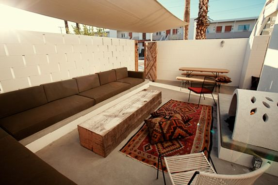 hotels with a fireplace in room. Our patio with fireplace room at the Ace Hotel  Swim Club in Palm Springs
