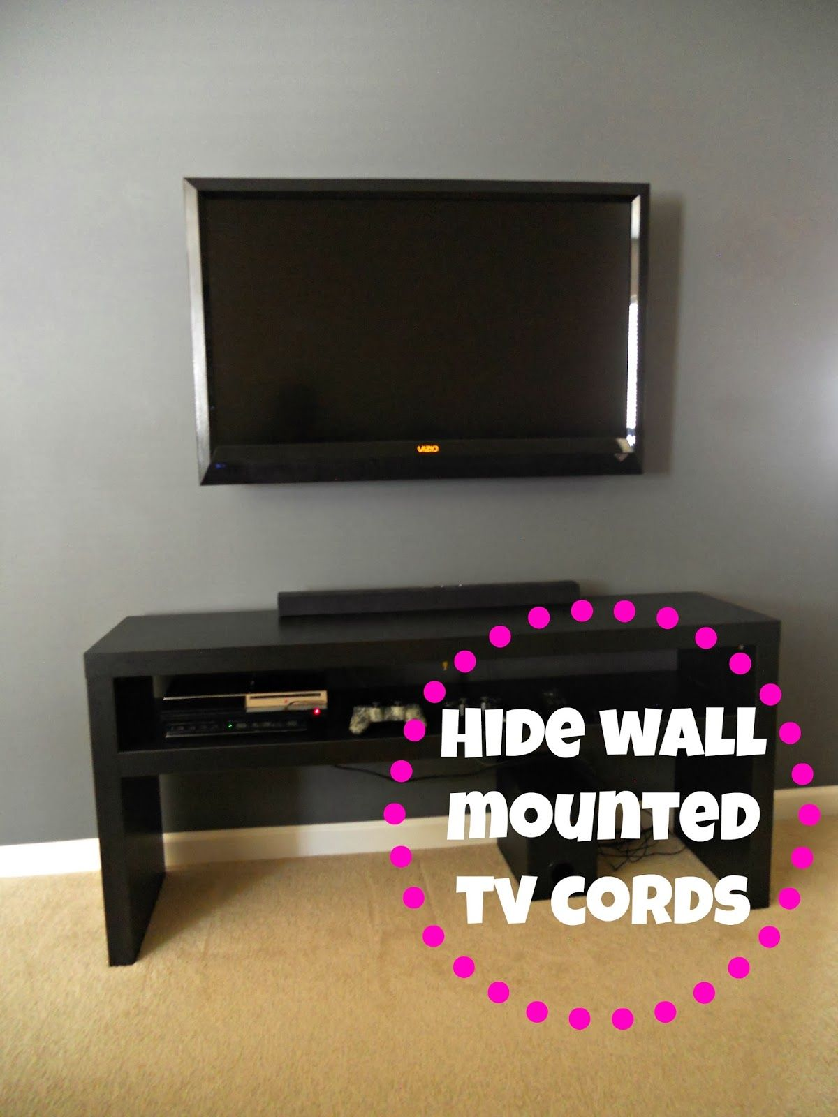 Hiding wall mounted tv cords decorating cents more for Disguise tv on wall