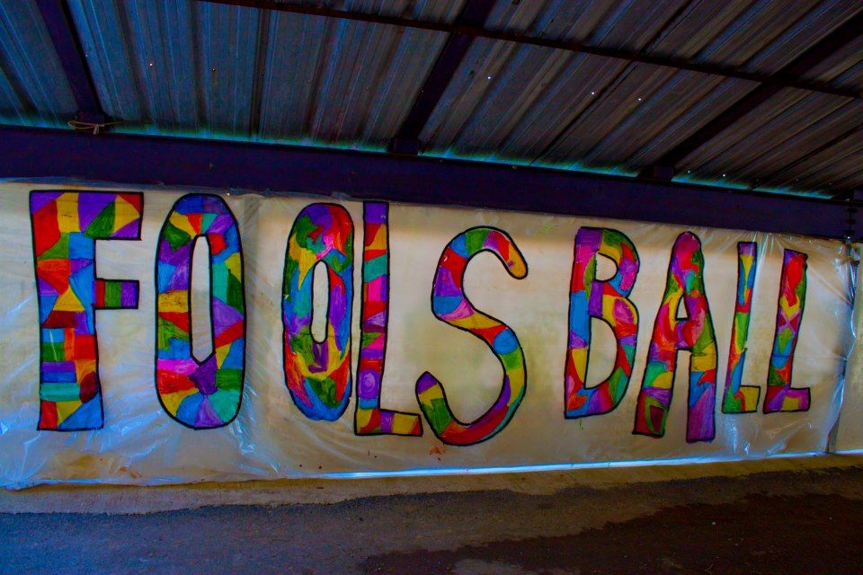 On site banner production... @ the Fools Ball 13... found on https://www.facebook.com/events/210553872419583/