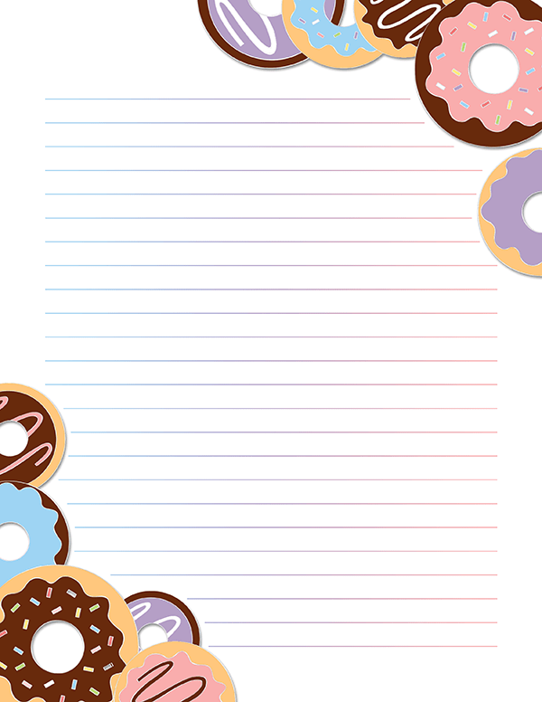 Free Printable Donut Stationery In Jpg And Pdf Formats The Stationery Is Ava Free Printable Stationery Writing Paper Printable Stationery Printable Stationery