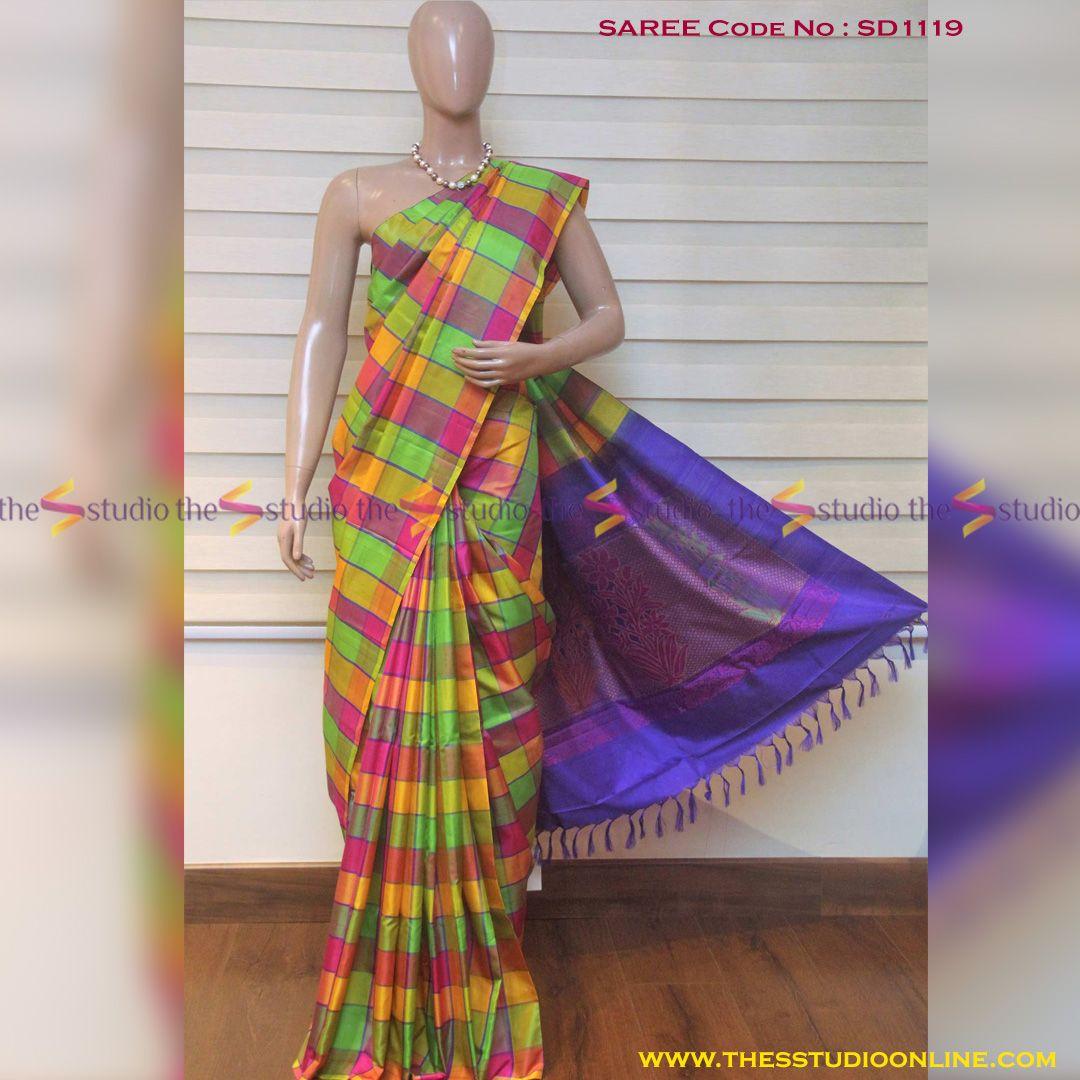 Yellow And Green Checked Soft Silk Saree With Contrast Pallu Saree Work Multi Colour Checks Soft Silk Saree With A Soft Silk Sarees Silk Sarees Online Saree