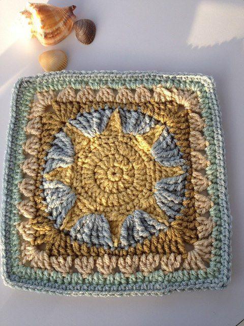Sun crochet square | Hot pads | Pinterest | Cuadrados, Cuadrados de ...