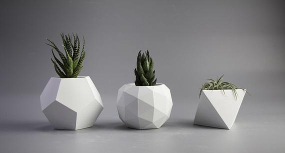 White Concrete Succulent Planter Concrete Planter Geometric