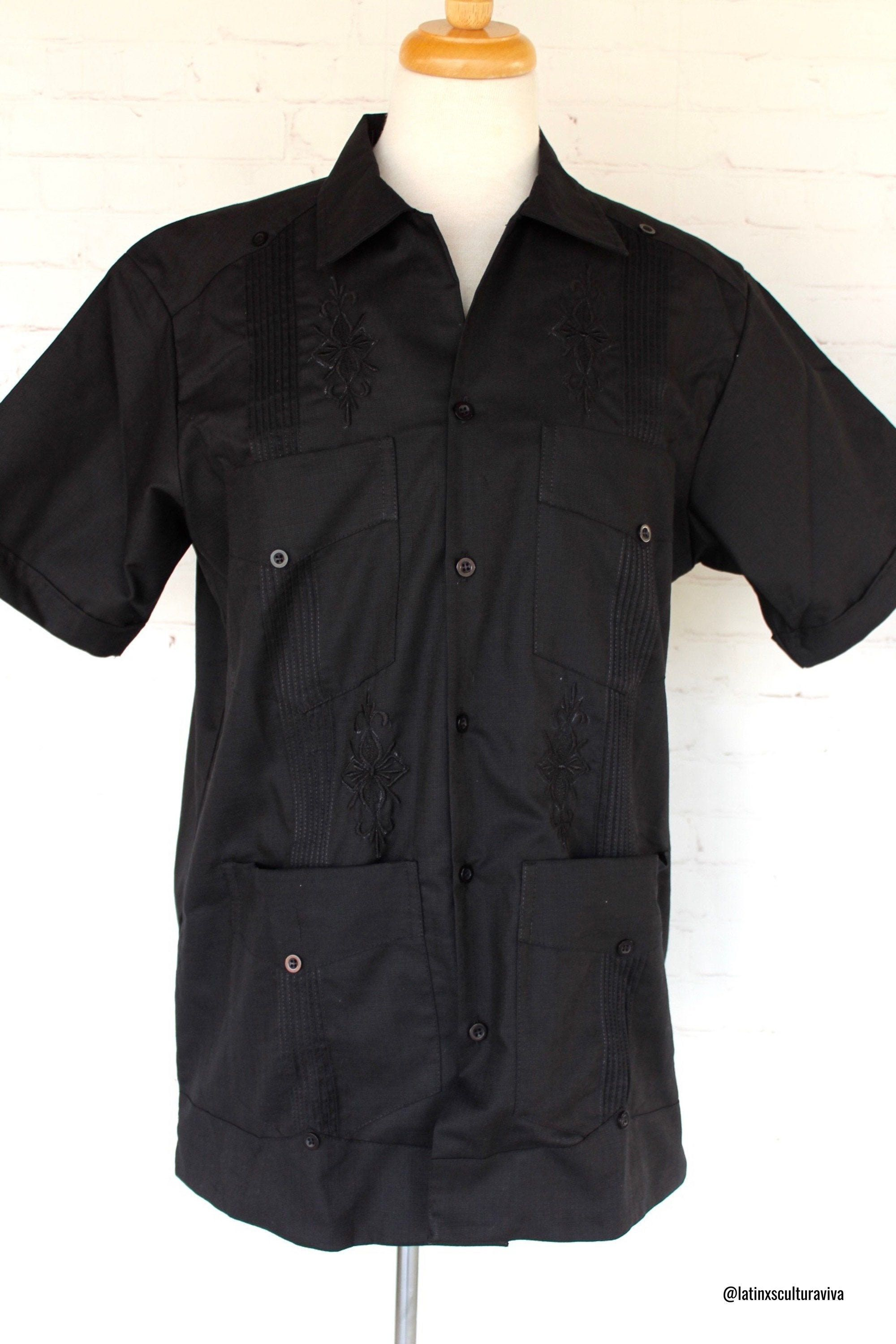 This Embroidered Guayabera is an elegant garment, and very versatile. Guayabera can be wear on formal occasions like weddings, meetings, or in relaxed places such as fiestas and beaches, etc. A Mexican Guayabera is definitely a garment that you must-have for any occasion. This is a linen guayabera with 4 pockets on the front. Note: We recommend washing by hand. Each Guayabera shirt that we sell is authentic and made with love by artisans from Yucatan, Mexico.
