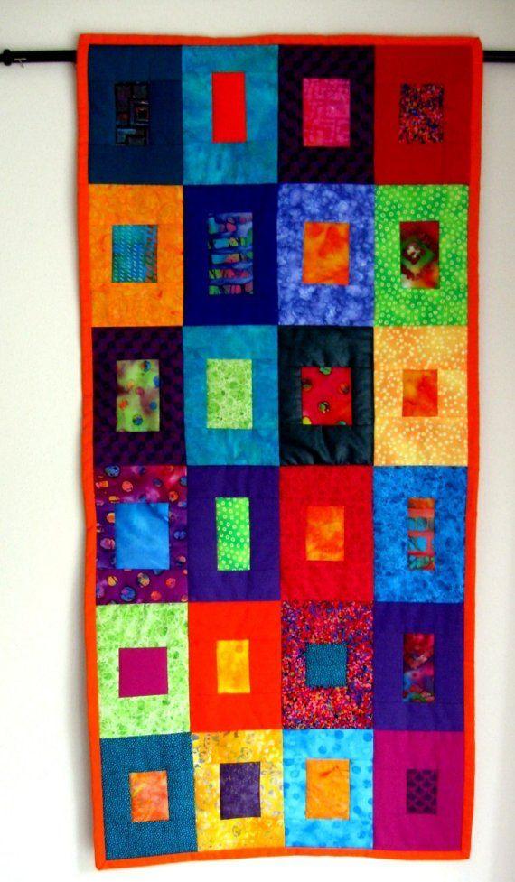 Table Runner Wall Hanging Batik Geometric Square by CinfulArt