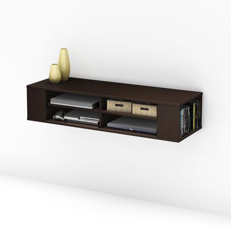 South Shore City Life 48 Wall Mounted Media Console Black Wall