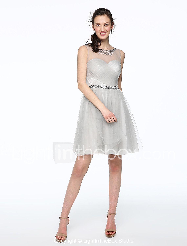 2017 Lanting Bride® Short / Mini Tulle Elegant Bridesmaid Dress - A ...