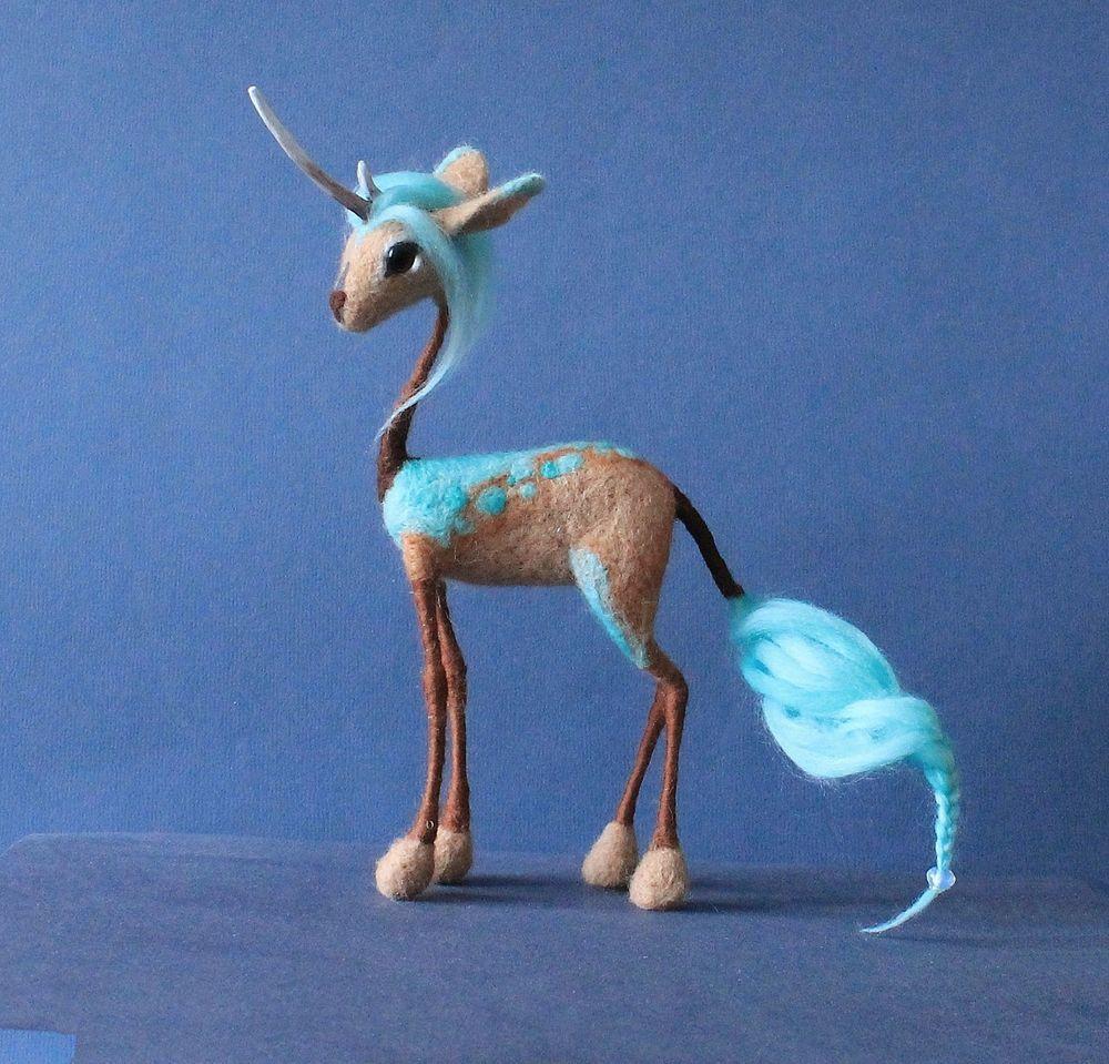 Unicorn Kirin needle felted Soft sculpture Handmade OOAK plushie ...