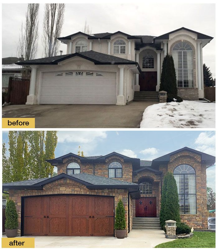 A New Faux Wood Carriage House Garage Door Adds Old World Charm To A 90s House Door Shown Clopay Garage Door Styles Carriage House Garage Doors Garage Doors