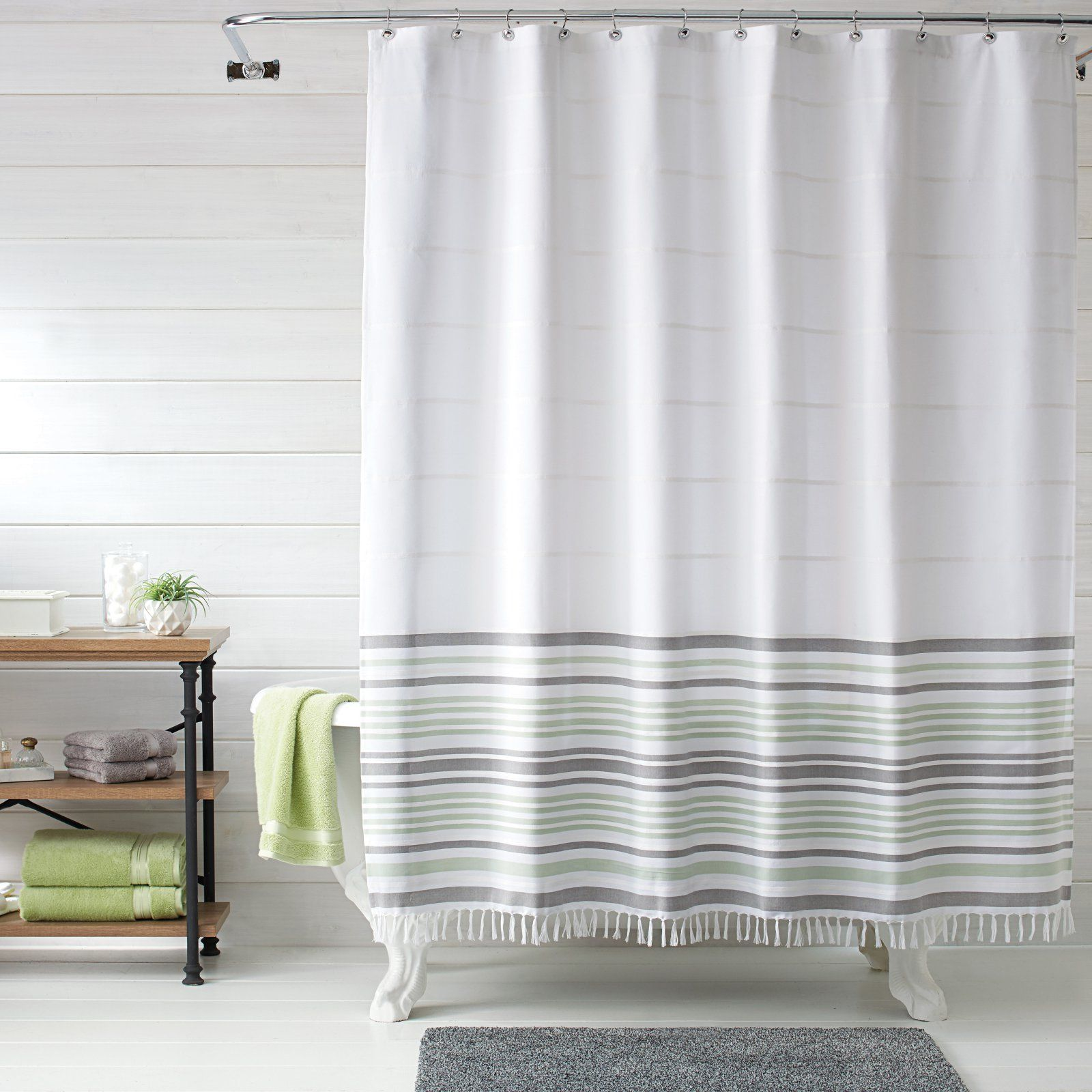 Better Homes And Gardens Turkish Stripe Shower Curtain Gray