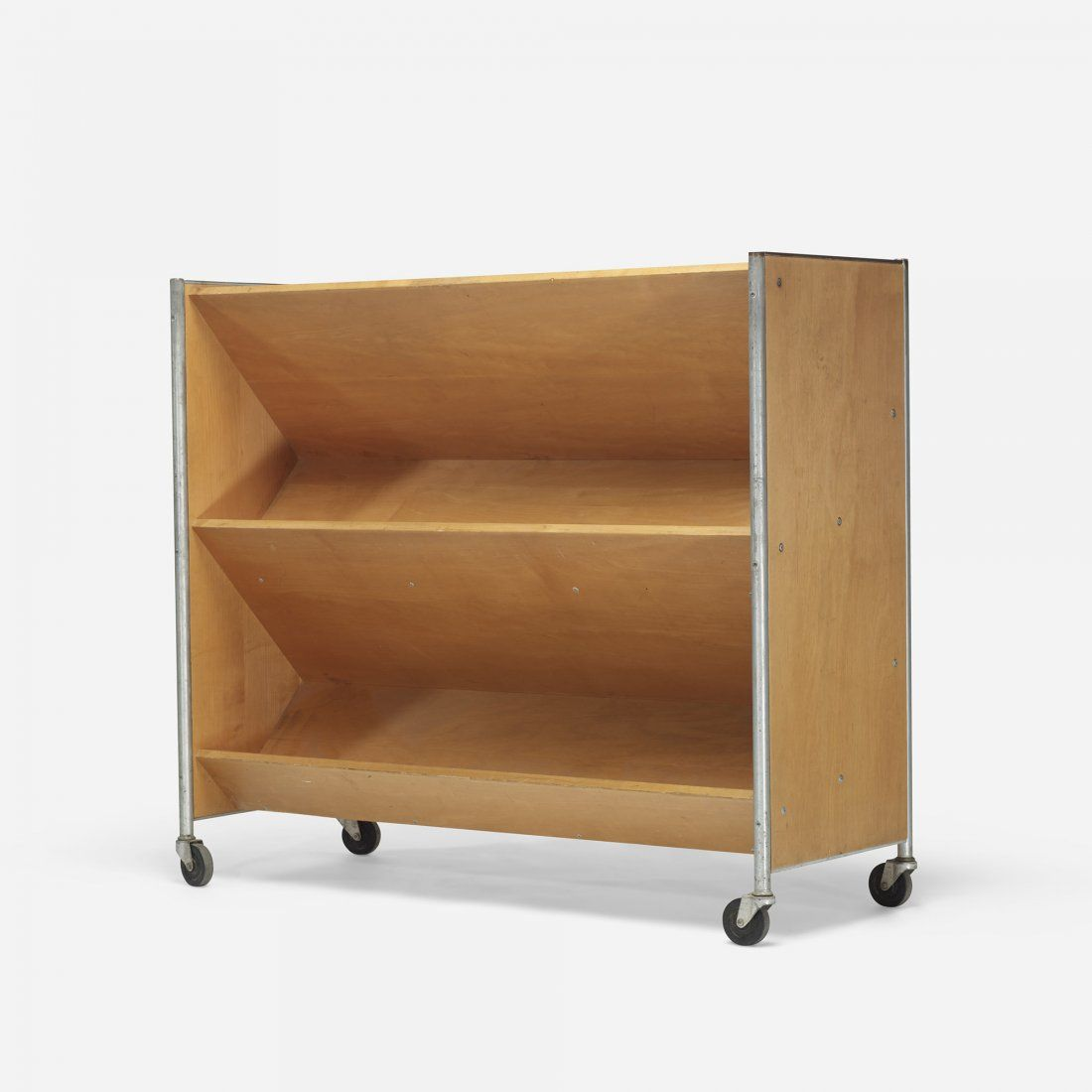 Henry Glass; Chromed Steel And Birch Book Truck For Fleetwood Furniture  Company, 1956.
