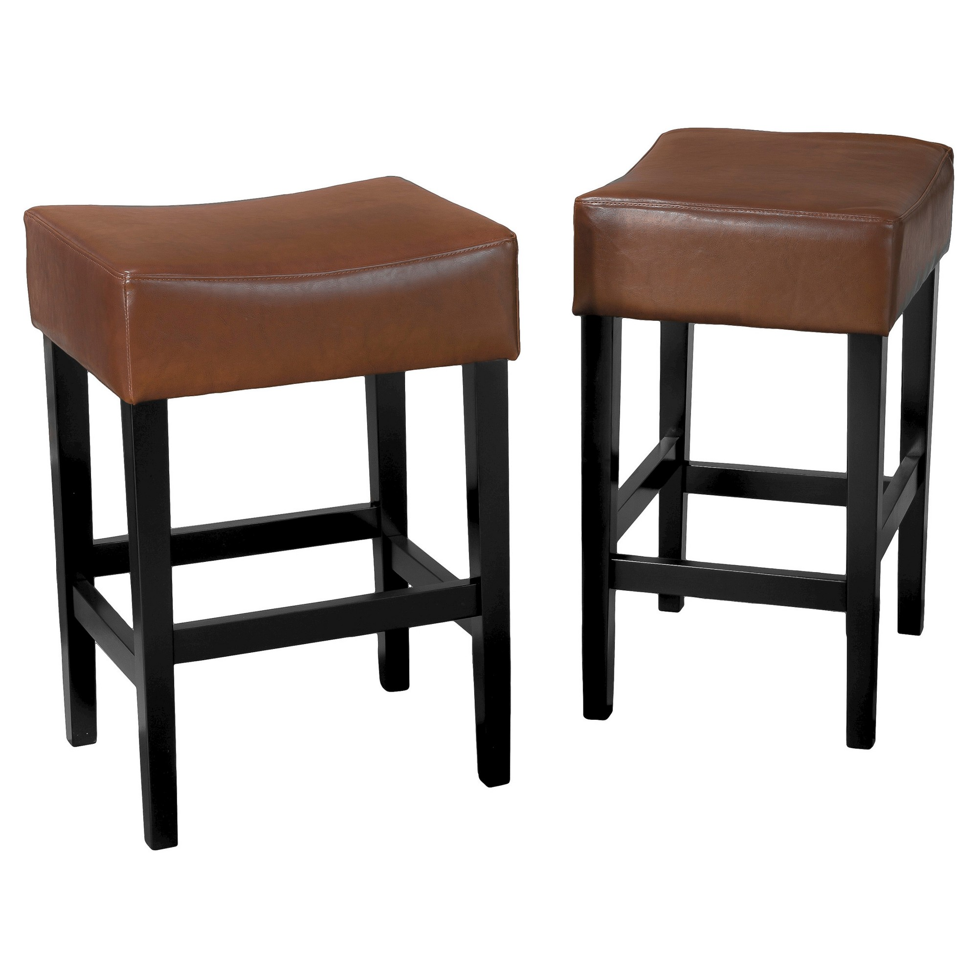Lopez Backless Leather 25 5 Counter Stool Hazelnut Set Of 2 Christopher Knight Home Light Leather Counter Stools Counter Stools Backless Counter Stools
