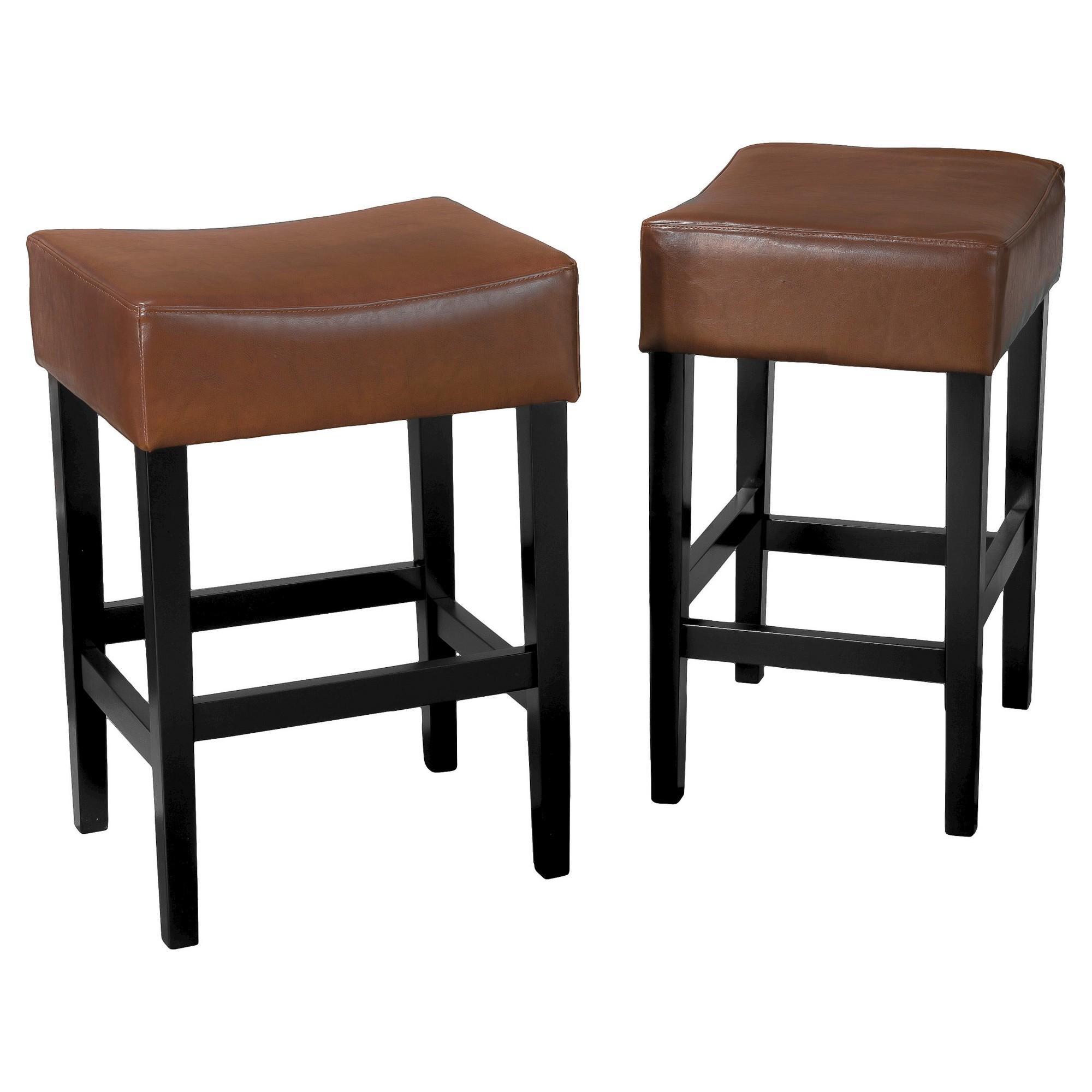Lopez Backless Leather 25 5 Counter Stool Hazelnut Set Of 2 Christopher Knight Home Light Leather Counter Stools Counter Stools Backless Counter Stools