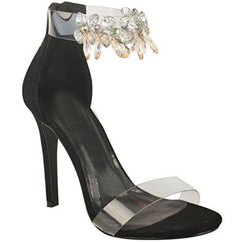 6d56487c52011d Damen Stiletto-Sandalen mit Glitzersteinen - High Heels mit transparenten  Riemen - Roségold-Metallic