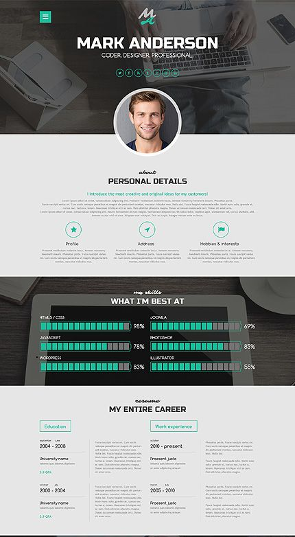 Resume Website Template Highclass Portfolio WordPress Theme  WordPress Theme  Pinterest