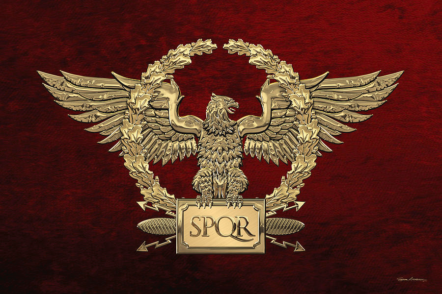 Rome Digital Art Gold Roman Imperial Eagle S P Q R Special Edition Over Red Velvet By Serge Averbukh Roman Tattoo Imperial Eagle Empire Logo