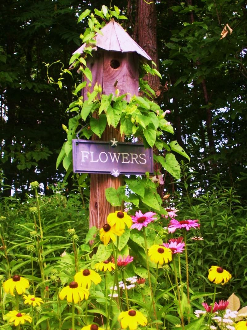 Bird house and flowers, so pretty Whimsical Garden Decor | To view a ...