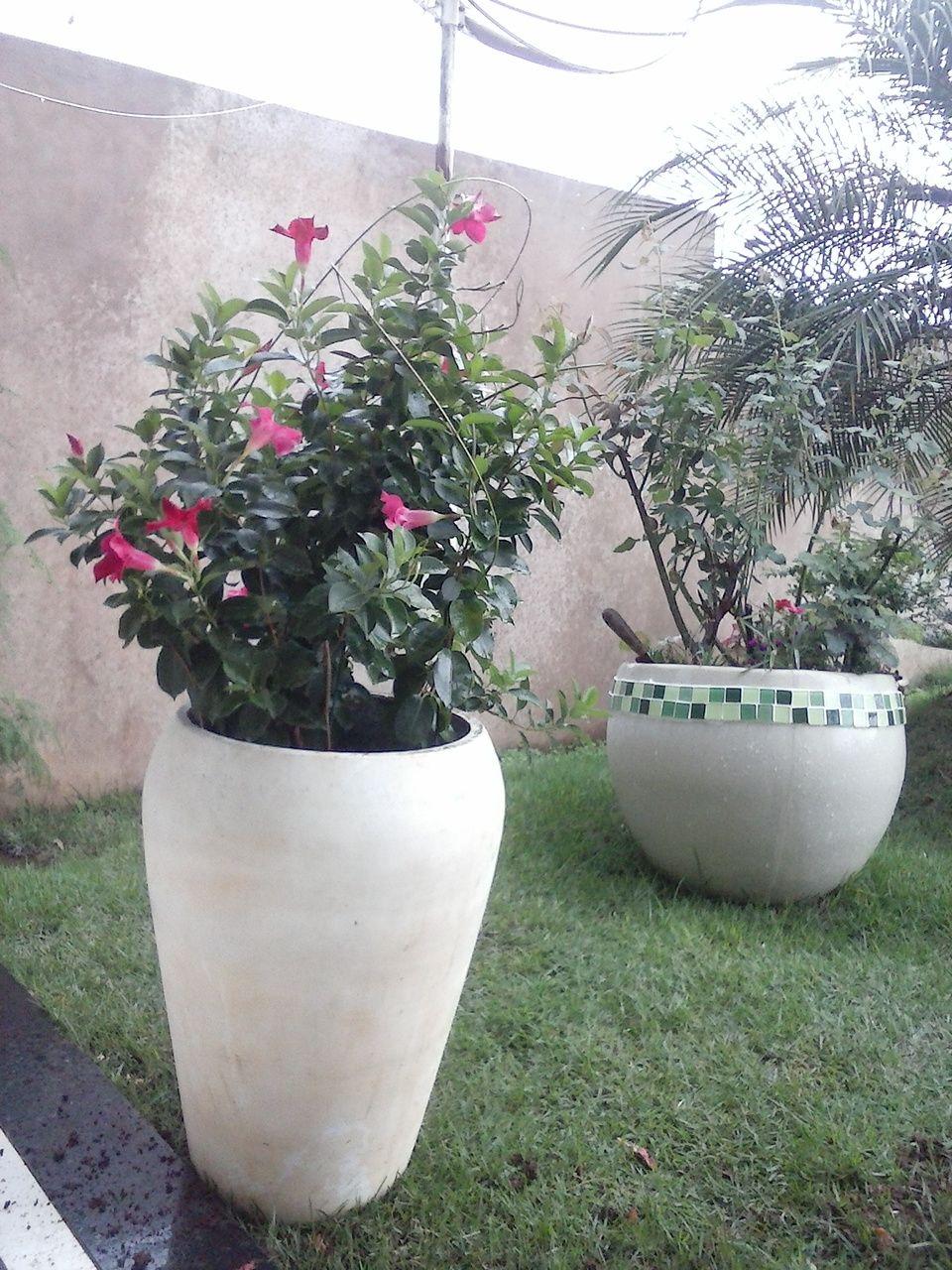 Vasos, flores amo. Segundo vaso, fiz uma borda com pastilhas.
