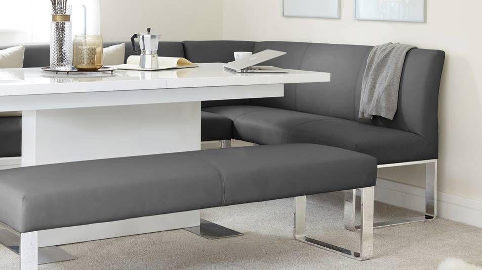 Phenomenal Sanza White Gloss And Loop 5 Seater Right Hand Corner Bench Inzonedesignstudio Interior Chair Design Inzonedesignstudiocom