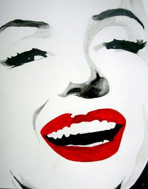 marilyn monroe black and white red lips pop art - Google ...