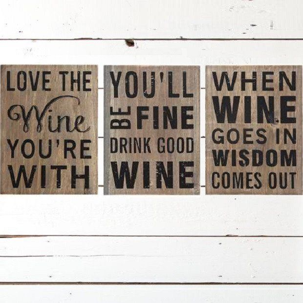 Wine Signs Decor Adorable Wood Block Wine Signs Set Of 3  Wine Antique Farmhouse And Woods Design Inspiration