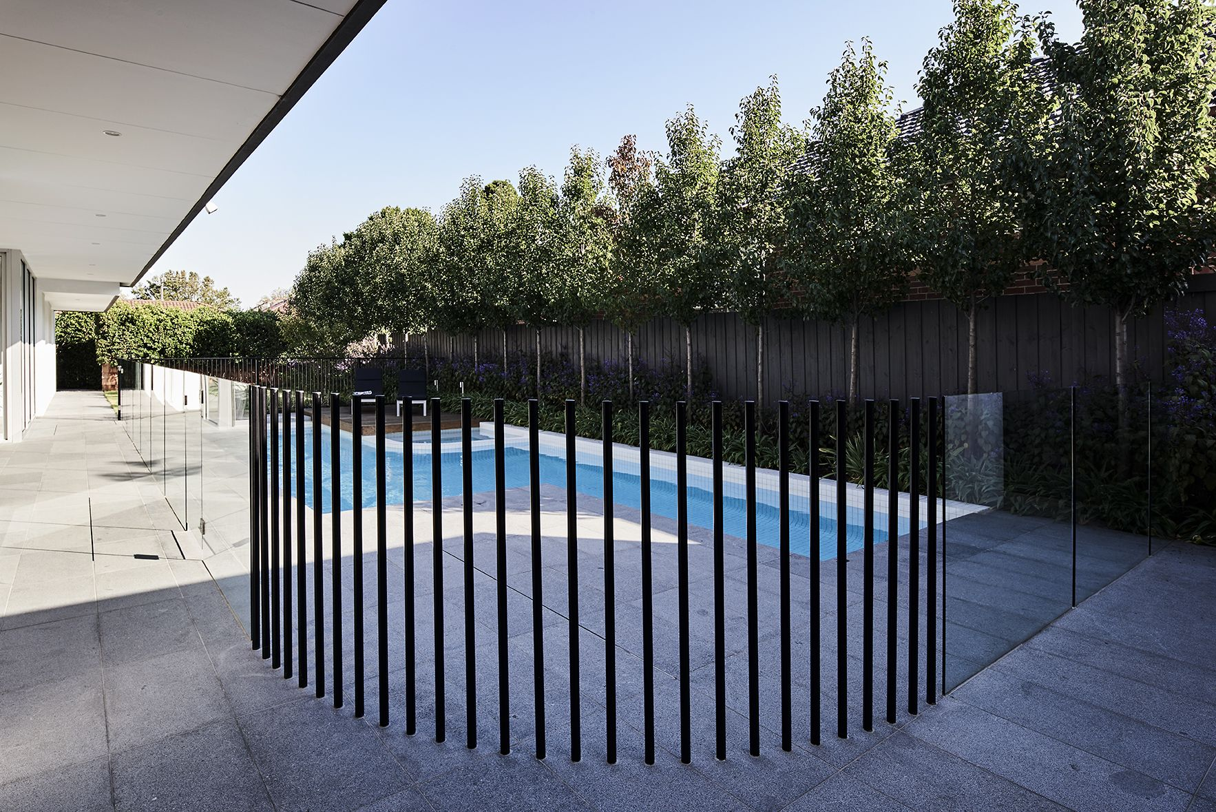 Pool Fencing Steel Tube Battens Oftb Pool Landscaping Modern Landscape Design Pool Fence