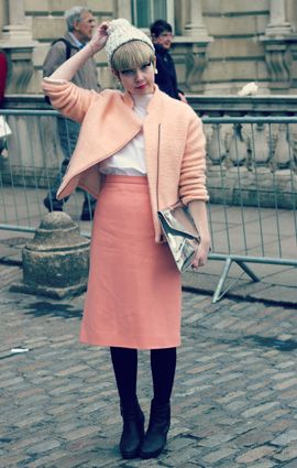 Blogger Stella Katterman from Stella's Wardrobe was pretty in peach with this jacket and skirt combo! #LFW #StreetStyle
