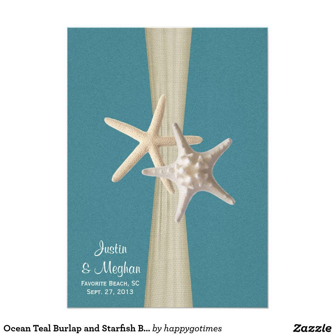 Teal beach wedding  Ocean Teal Burlap and Starfish Beach Wedding Card  Starfish