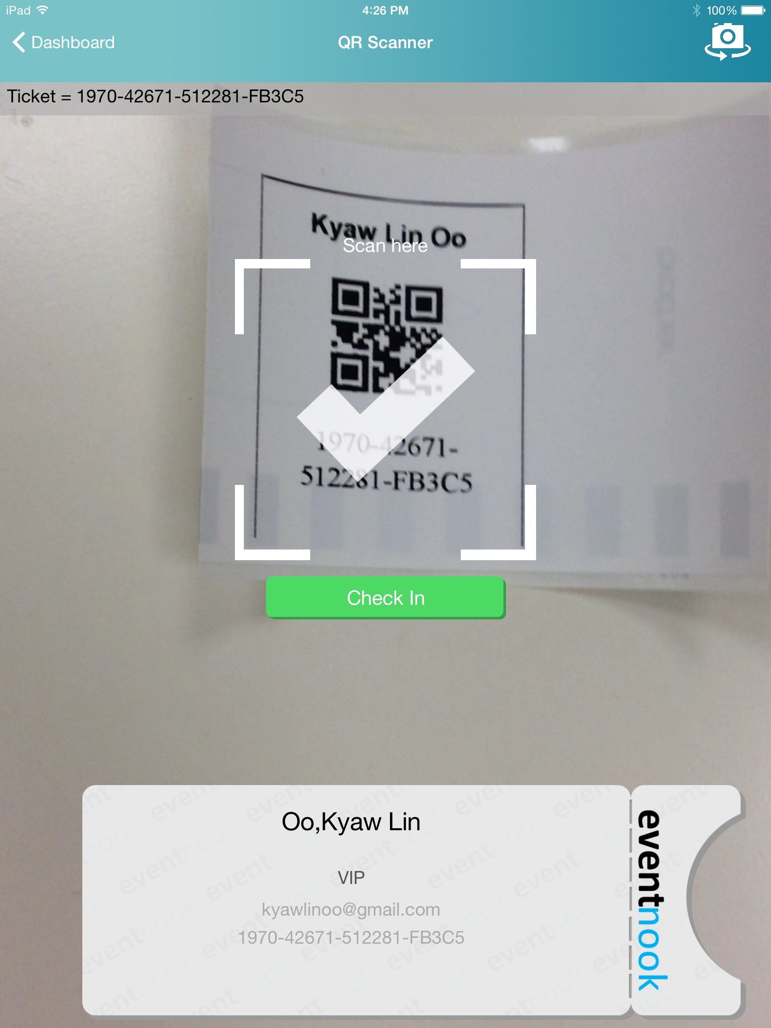 EventNook App - QR code scan check-in