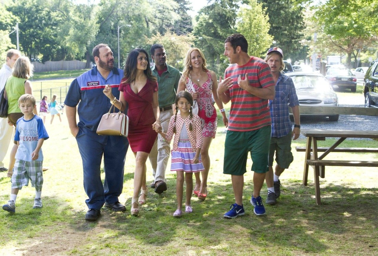 Grown Ups 2   Title: Grown Ups 2 Release Date: 12/07/2013 Genre: Comedy Country: USA Cast: Adam Sandler, Kevin James, Chris Rock, David Spade, Salma Hayek, Maya Rudolph, Maria Bello  Nick Swardson Director: Dennis Dugan Studio: Happy Madison Distribution: Columbia Pictures