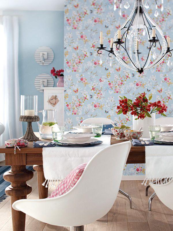 papier peint fleuri esprit campagne et liberty papier peint salle manger pinterest. Black Bedroom Furniture Sets. Home Design Ideas