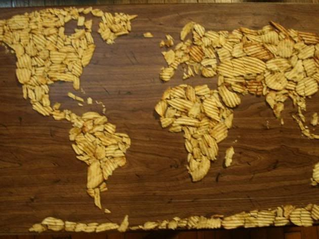 Potato chip map of the world