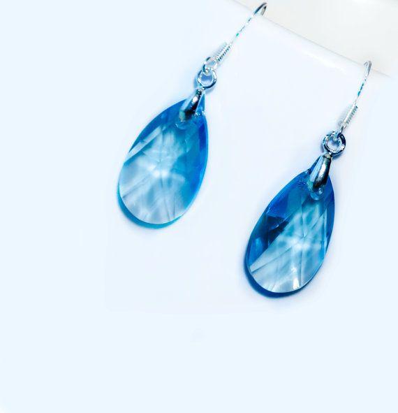 Blue Swarovski earrings  sterling silver by EllenSmilePhoto