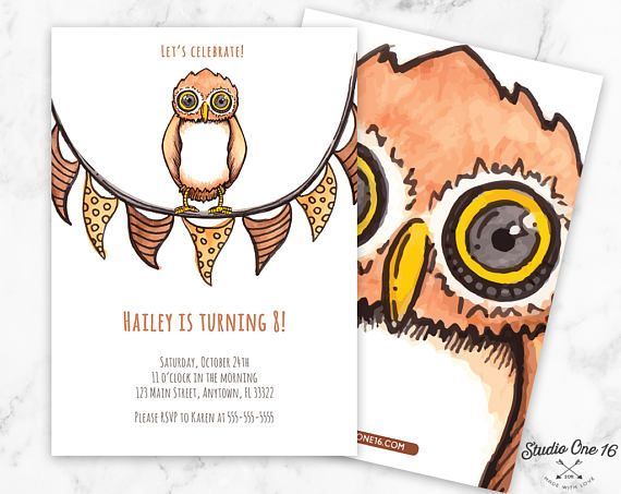 Owl Birthday Invitation Owl Birthday Party Owl Invitation Owl